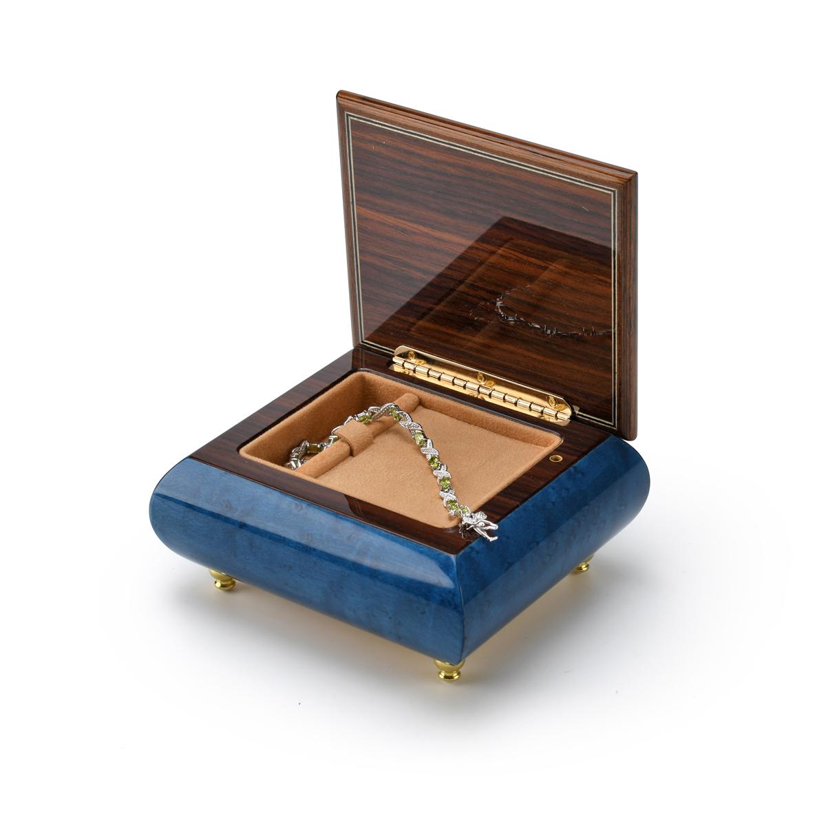 Vibrant Blue Nautical Theme Inlay of Anchor Music Box
