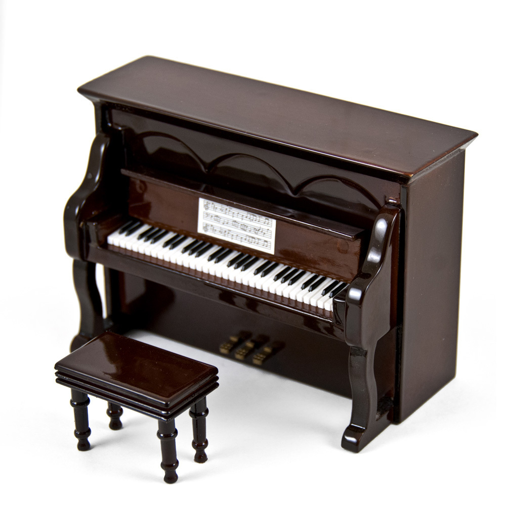 Miniature 18 Note Musical Hi-Gloss Brown Upright Piano with Bench