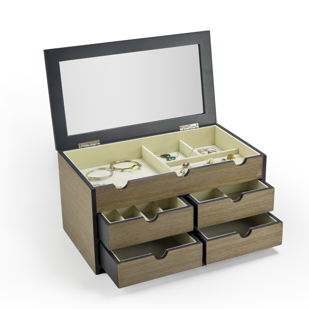 18 Note Classy Spacious Wooden Musical Jewelry Box with Mirror OVERSTOCK PRICE