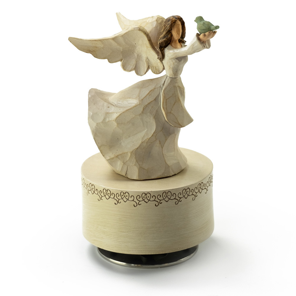 Sculpted Wooden Style Musical Angel in White Holding Bird