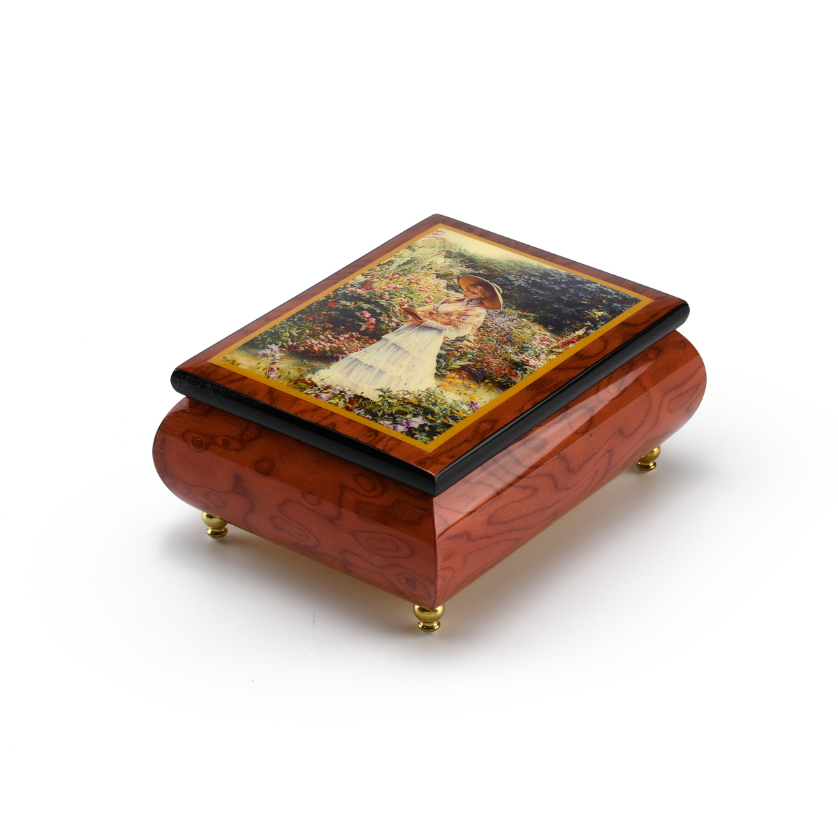 Handcrafted Ercolano Music Box With Painted Scene Quite Garden By Sandra Kuck
