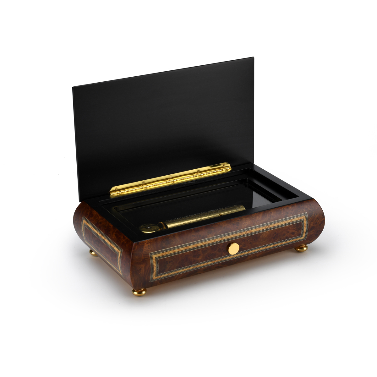 Hand Made Swiss 72 Note Classic Style with Frame Inlay Grand Music Box