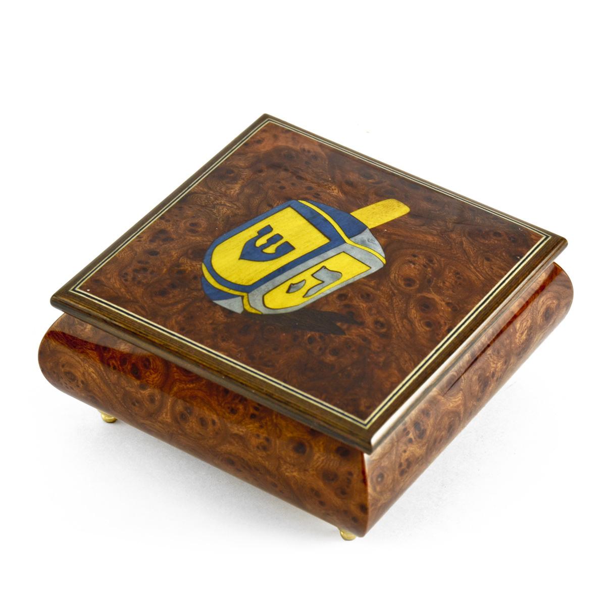 Traditional Jewish Dreidel Wood Inlay Musical Jewelry Box