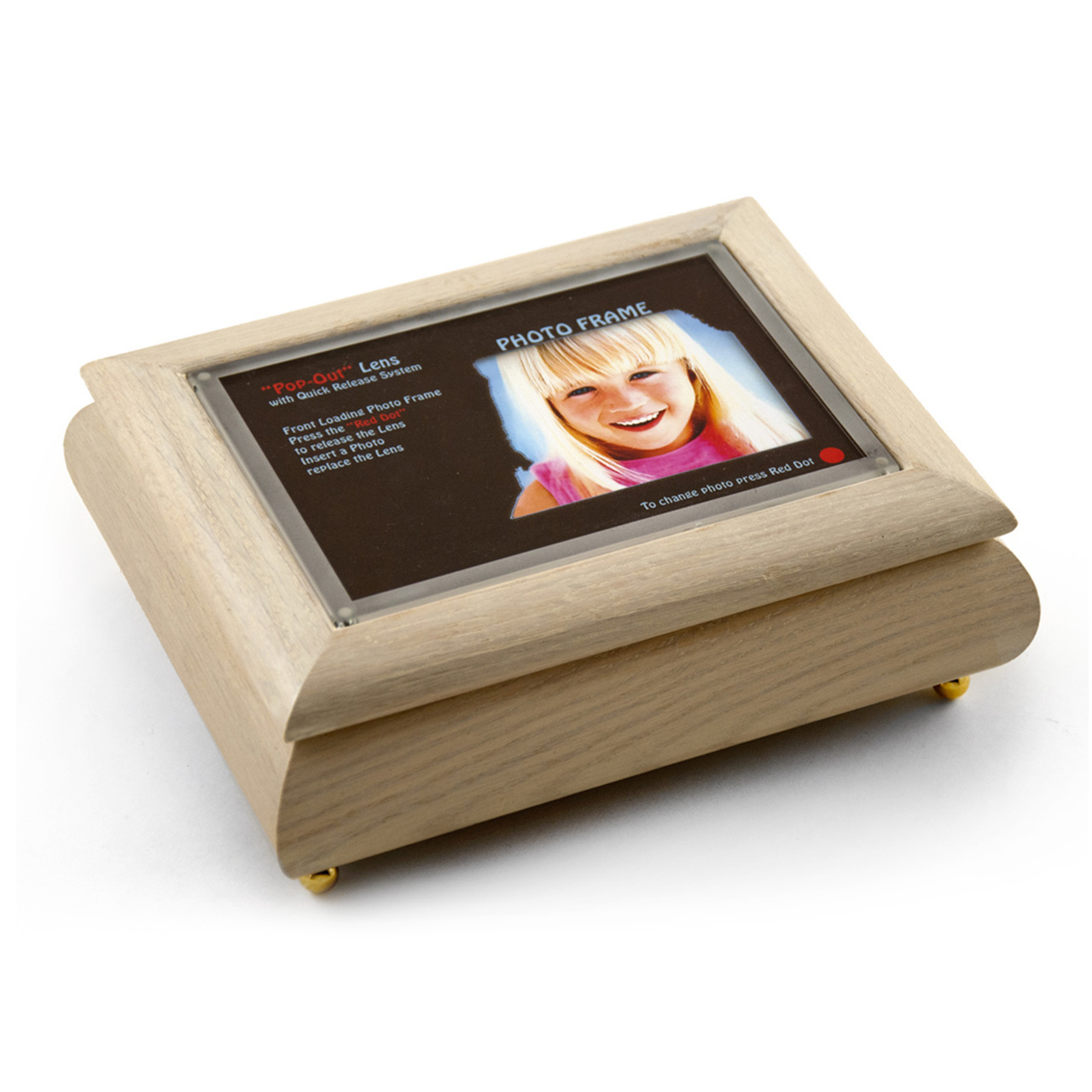 4 x 6 White Washed Photo Frame Musical Jewelry Box with New Pop-Out lens System
