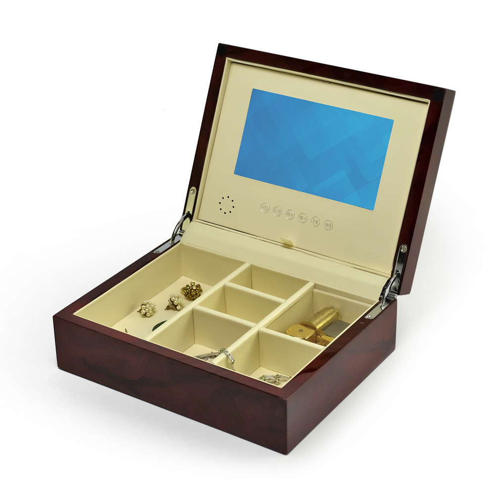 Contemporary Hi Gloss Burl Wood Finish 7 LCD Video Jewelry Box