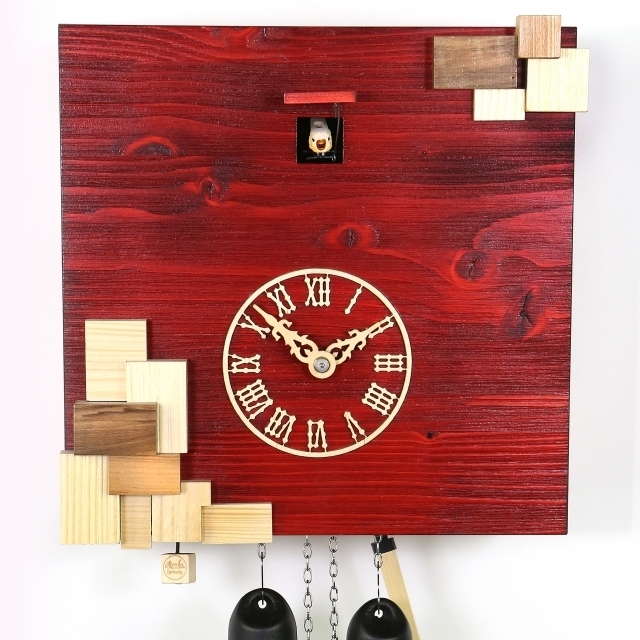VDS Certified Red with Natural Wood Accents 8 Day Modern Romba Art Cuckoo Clock by Rombach and Haas