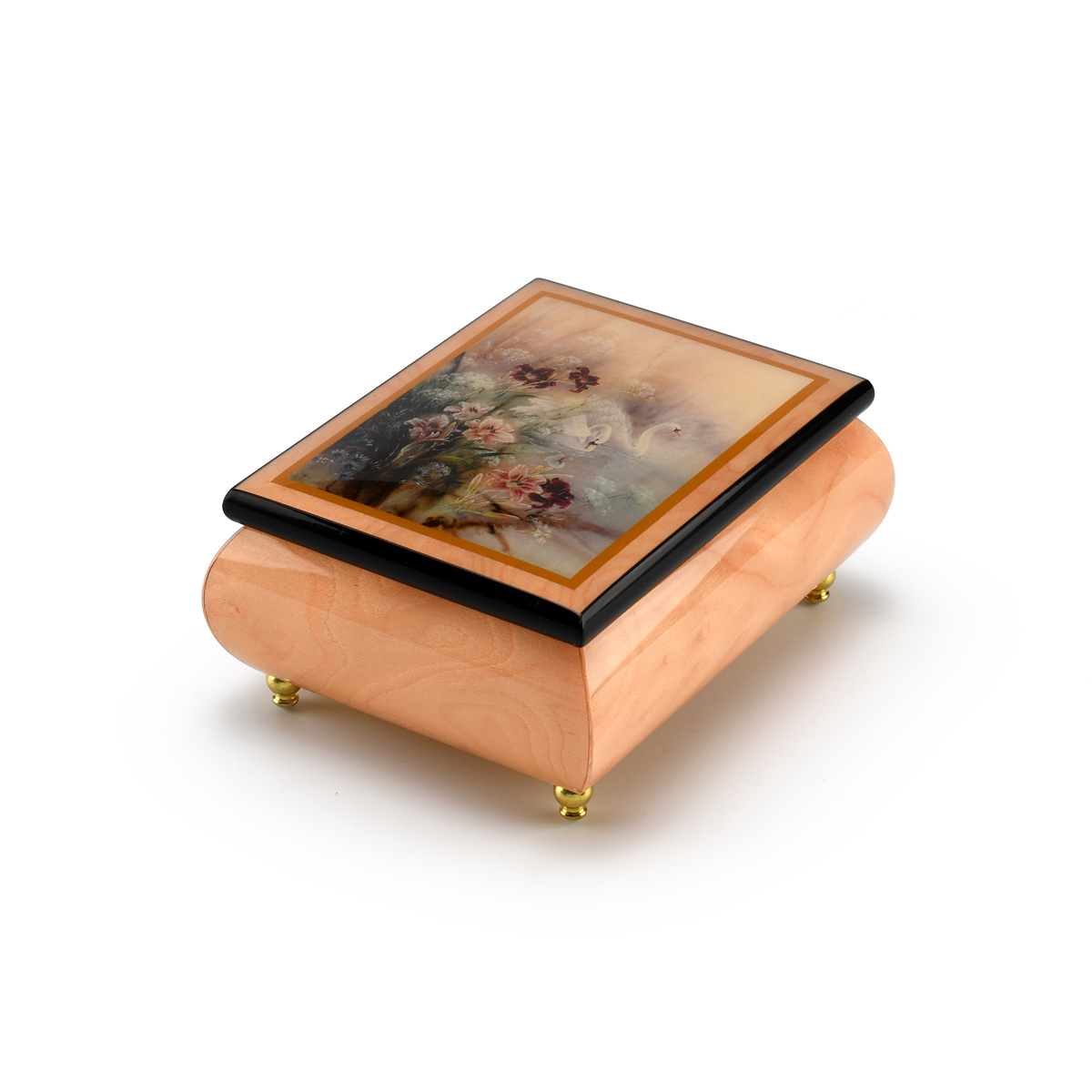 Handcrafted Ercolano Music Box Featuring Swan With Daylilies by Lena Liu