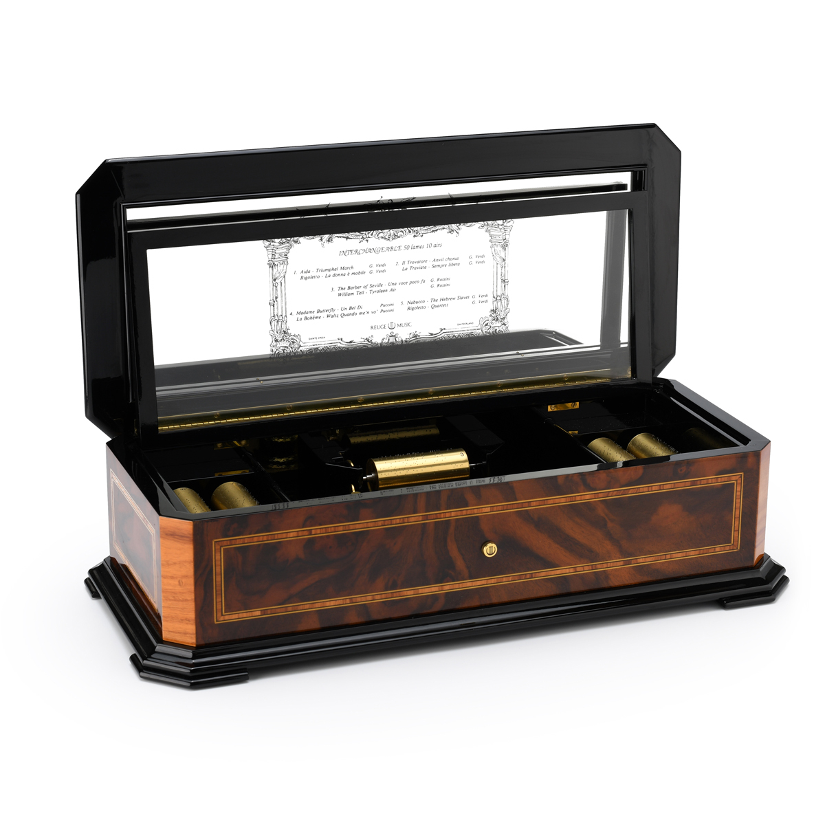 Elegant Handcrafted REUGE 50 Note Interchangeable Cylinder Grand Music Box