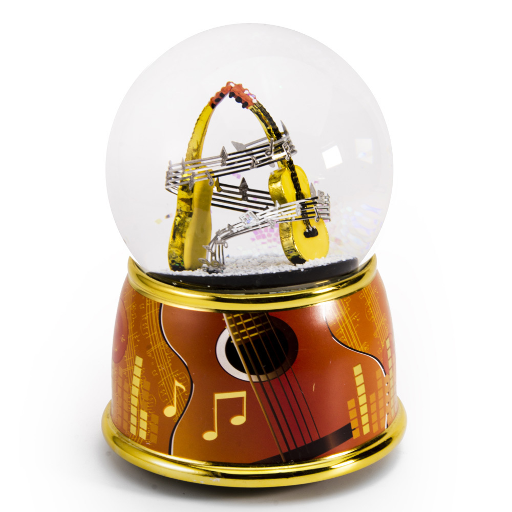 Music Theme Dual Guitars with Painted Base Musical Water / Snow Globe