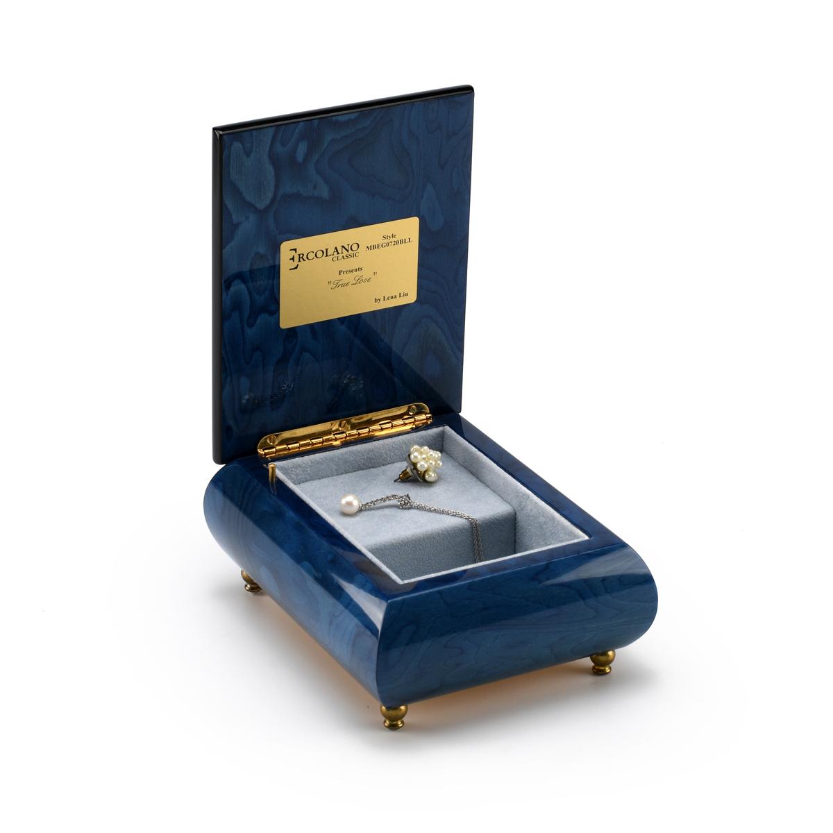 Vibrant Blue Ercolano Music Jewelry Box - True Love by Lena Liu