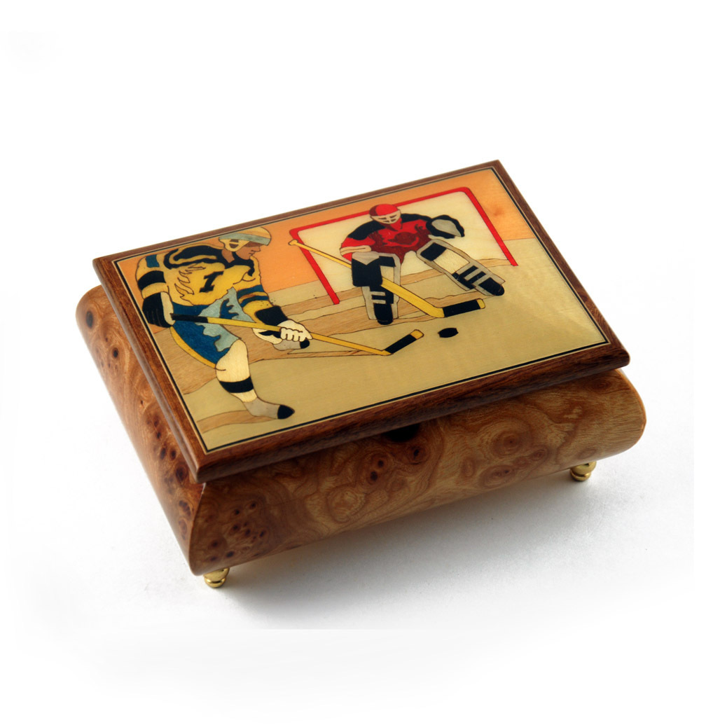 Sports Theme Wood Inlay Hockey - Collectible 18 Note Musical Jewelry Box