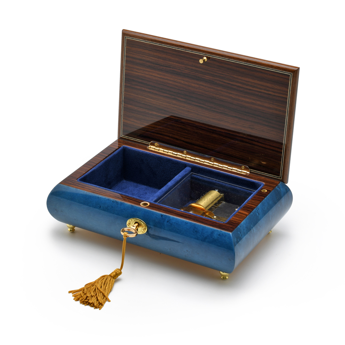 Radiant 18 Note Royal Blue Italian Musical Jewelry Box with Red Rose Inlay