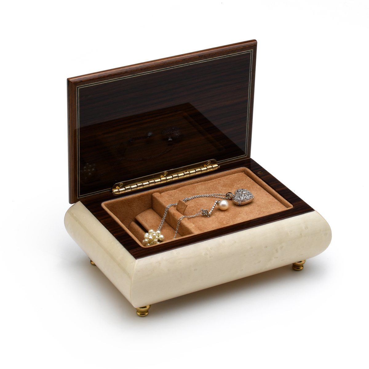 Incredible 18 Note Handcrafted Ivory Music Box with Bird and Flower Inlay