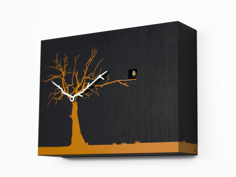 Contemporary Modern Cuckoo Clock with Black Wall with Orange Tree - by Progetti