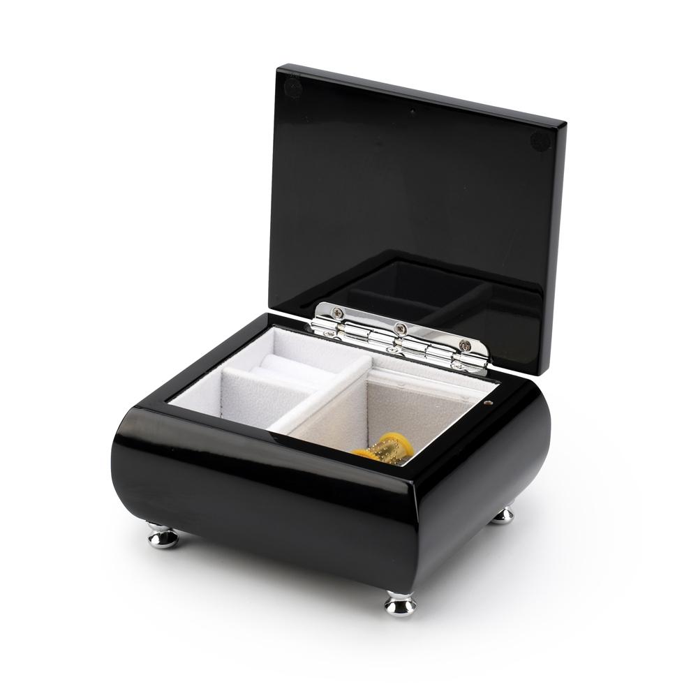 18 Note High Gloss Midnight Black Finish Musical Jewelry Box