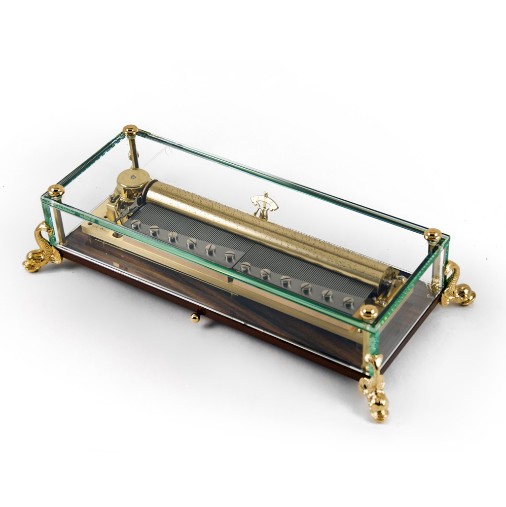 Extraordinary 3 Part 144 Note Crystal Music Box with gilt Dolphin Feet