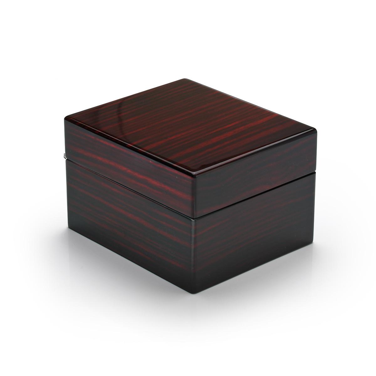 Modern Hi Gloss Macassar Finish 18 Note Music Jewelry Box