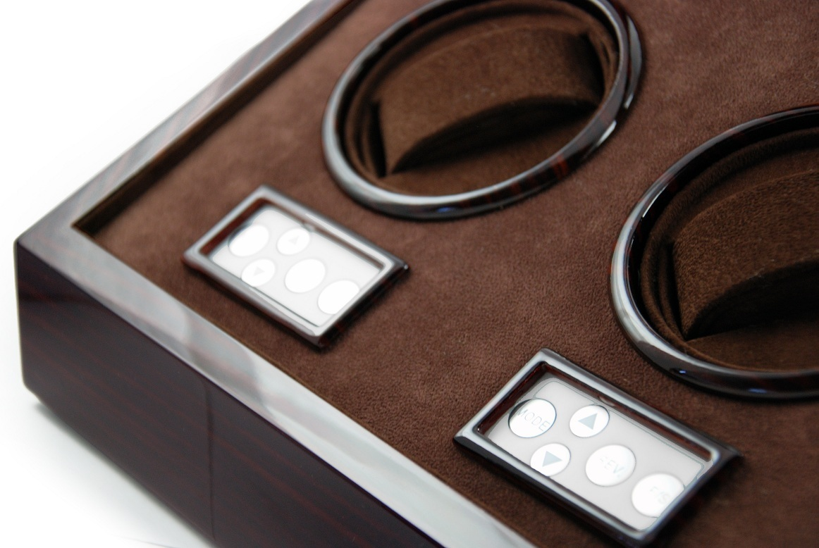 Contemporary Hi-Gloss Rosewood Dual Rotor Watch Winder 2 with LCD Display