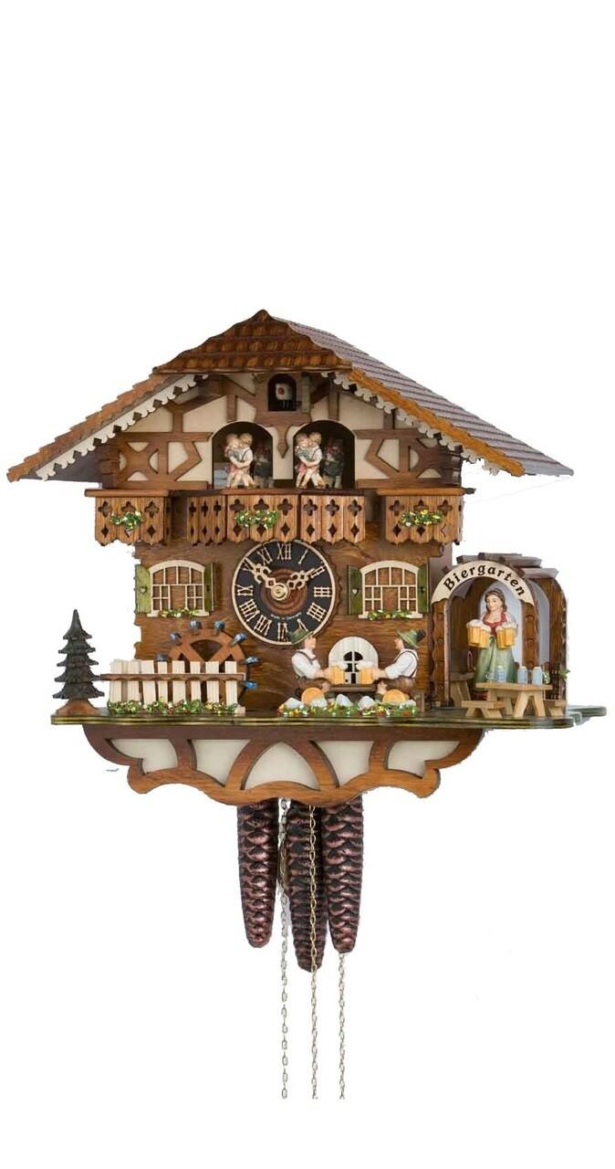 1 Day Musical Bavarian Chalet Cuckoo Clock with 2 Beer Drinkers In Biergarten By Hones
