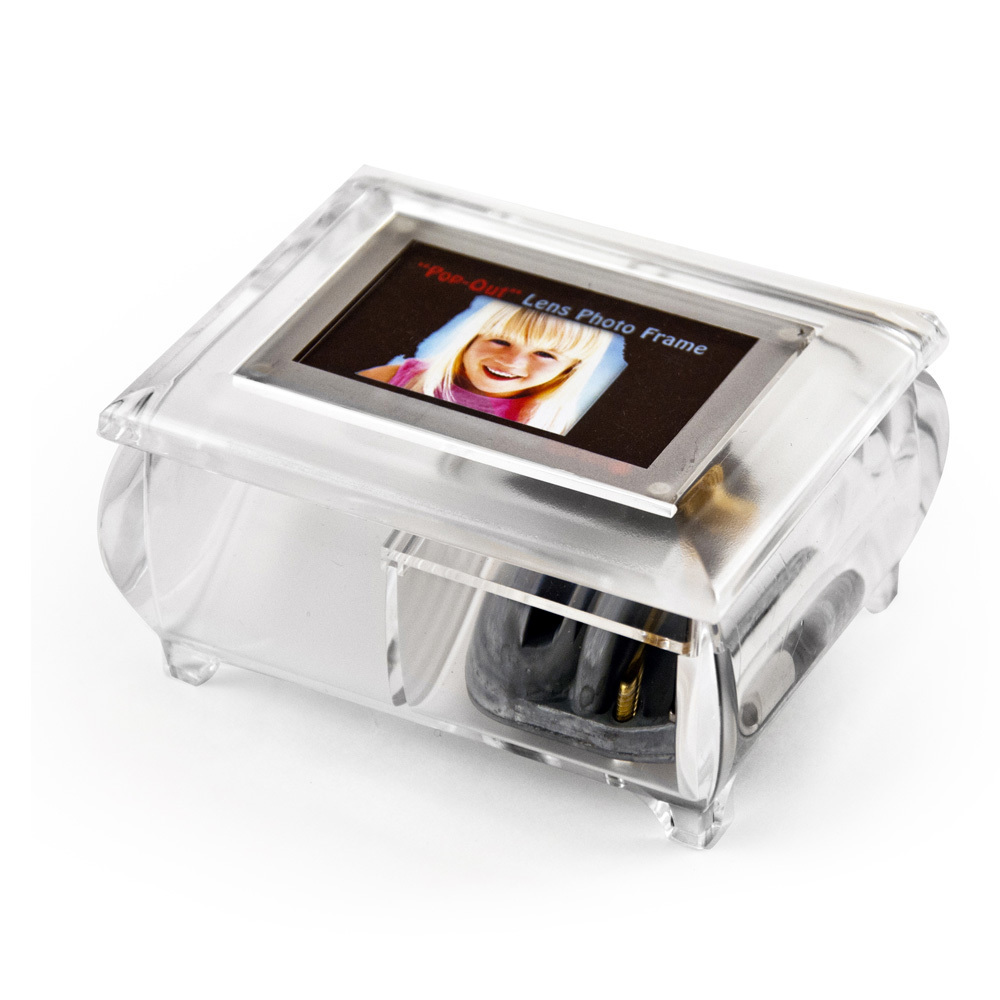 3 x 2 Wallet Size Clear Photo Frame Music Box with New Pop-Out lens System
