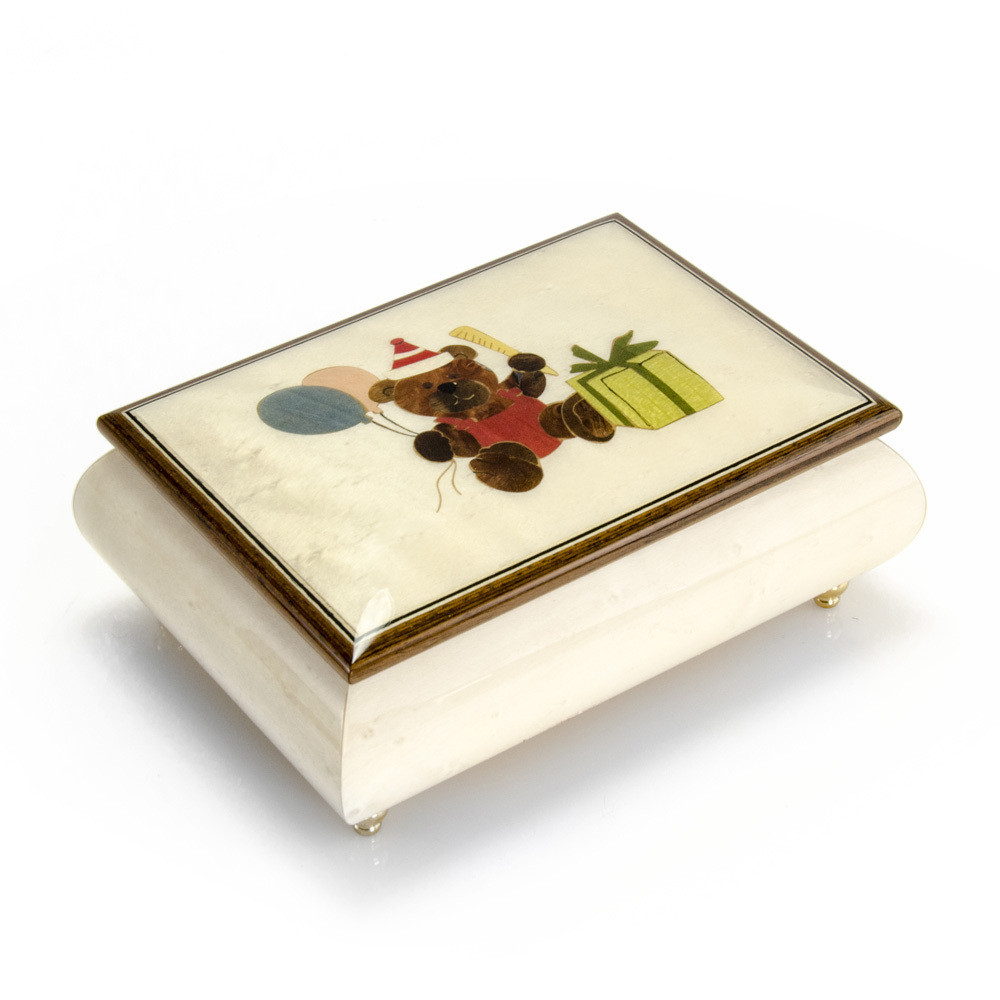 Festive 18 Note Handcrafted Beige Happy Birthday Bear Music Box
