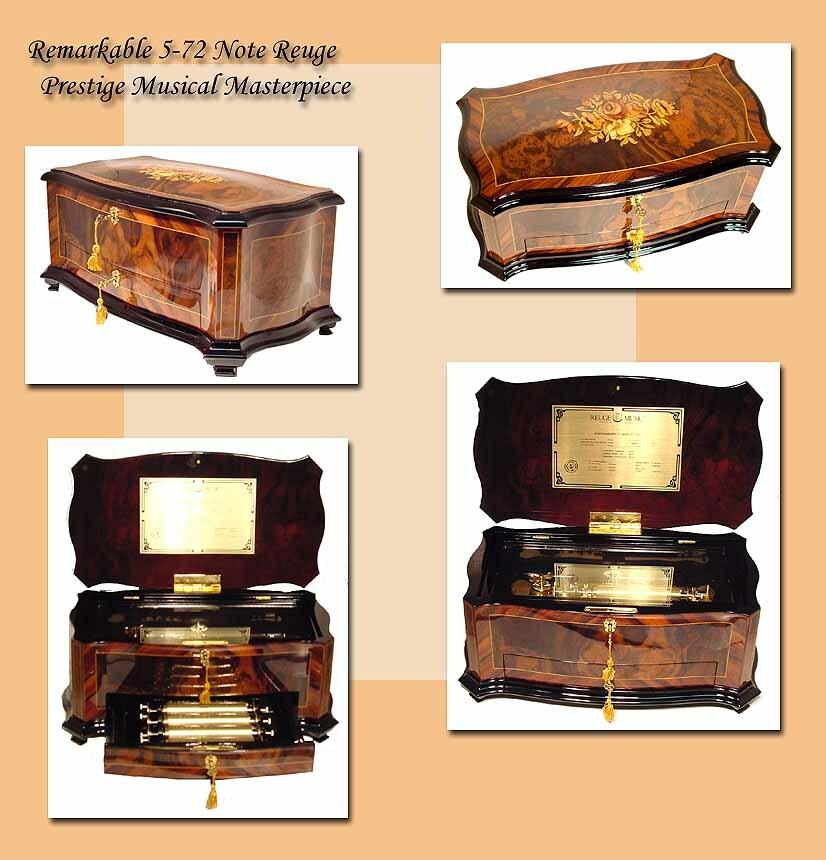 Reuge Music Box Company Masterpiece 72 Note Interchangeable 5 Movement, 15 Tune Crescendo / Dolce Vita Music Box