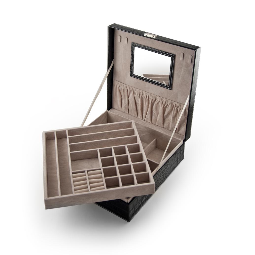 Sleek and Modern Table Top Black Croc Skin Faux Leather Jewelry Box