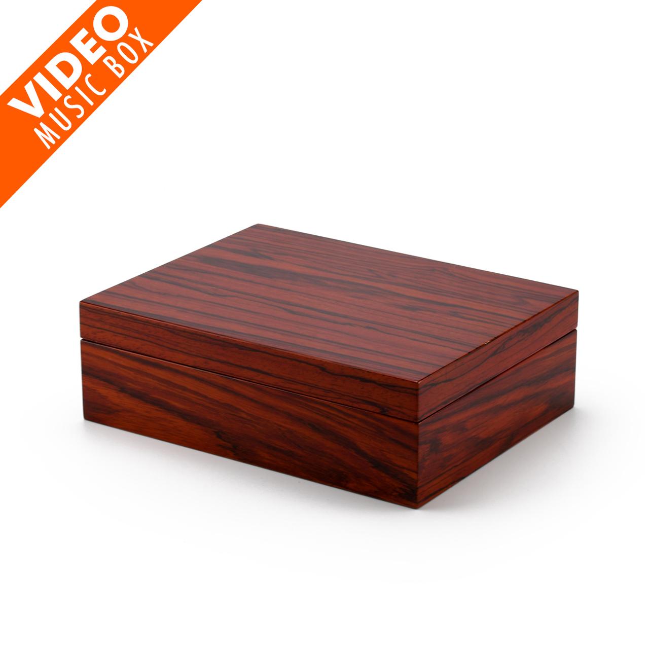 Ultra-Sleek Hi Gloss Zebra Striped Wood Finish 7 LCD Video Jewelry Box