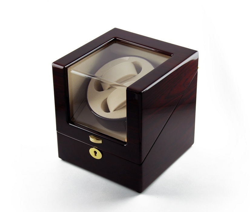 Contemporary Rosewood Single Rotor Dual Watch Winder 2 with Gold Accents