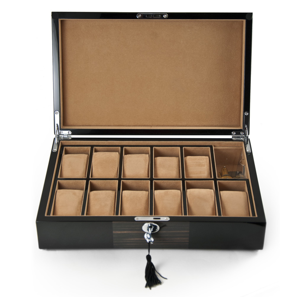 Modern 18 Note Hi-Gloss Black Lacquer with Macassar Accent Musical 11 Count Watch Box