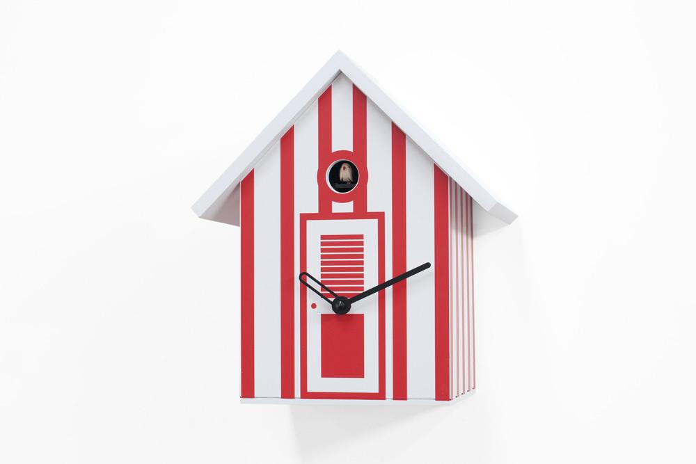 Vibrant White and Red Striped Modern Cuckoo Clock - Bagni Nettuno Single by Progetti