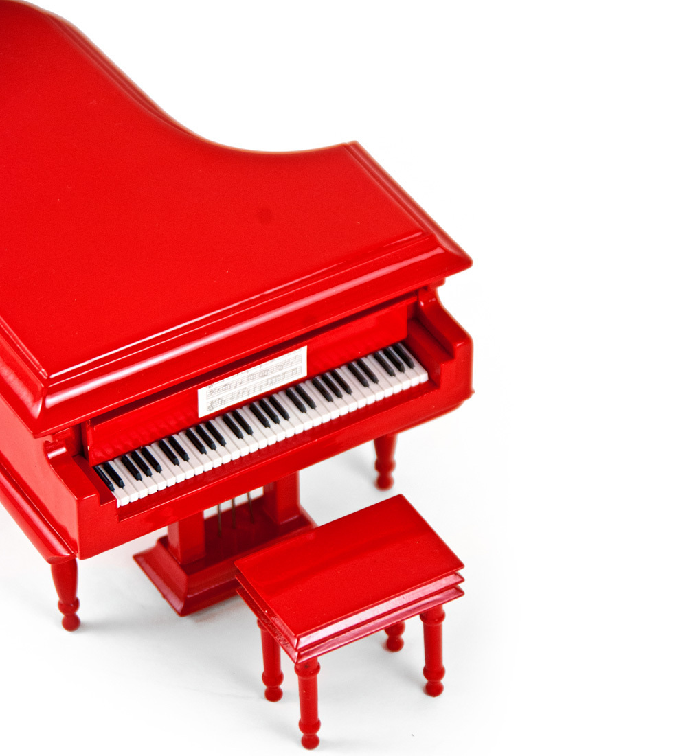 Miniature Musical Fire Engine Red Grand Piano with Bench