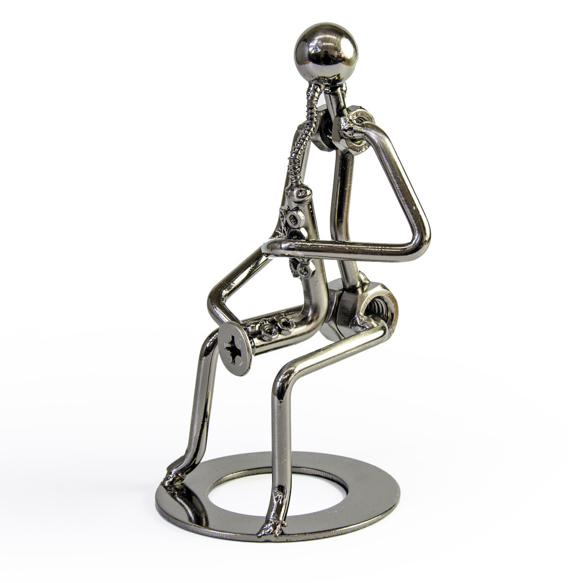 Handcrafted metal musician with saxophone figurine