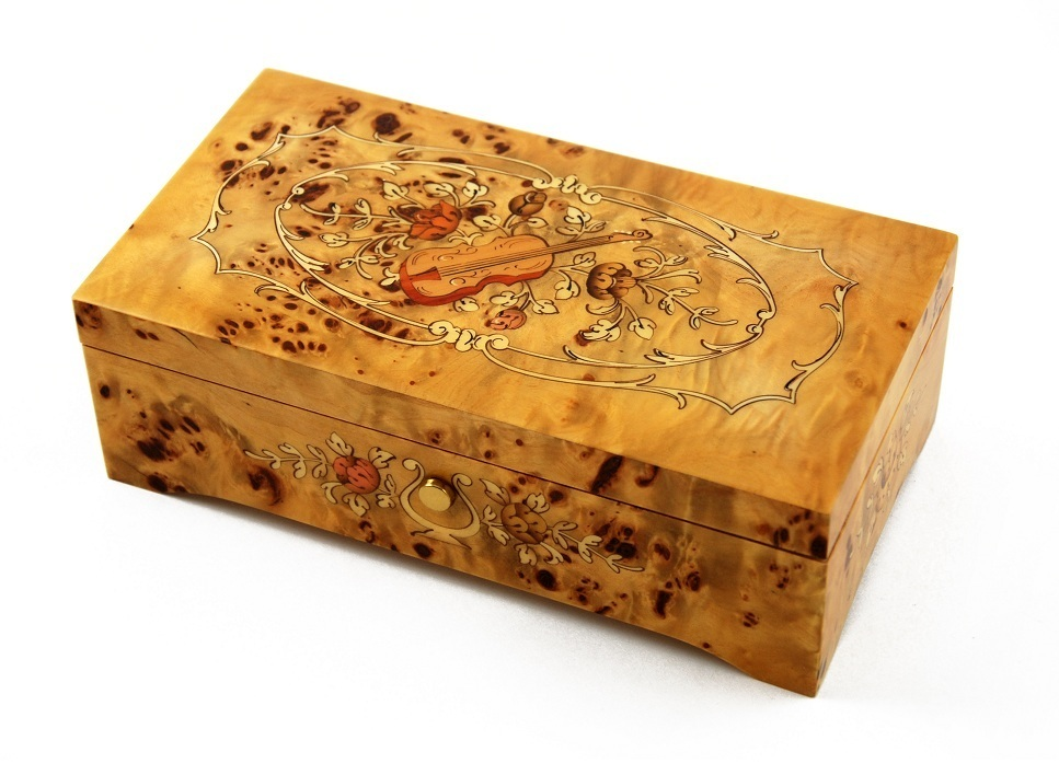 Artistic 72 Note Pioppo Music Box with Violin and Floral center in Ornament Frames Inlay