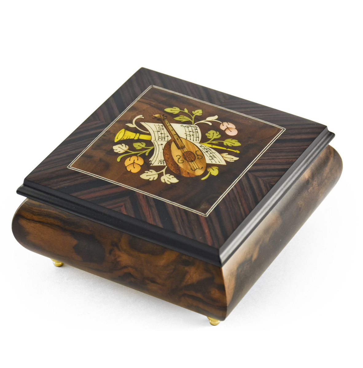 Hand-made 18 Note Italian Jewelry Box with Mandolin Wood Inlay