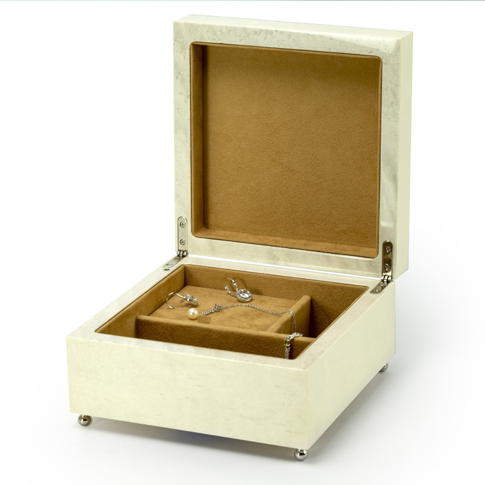 Sophisticated 18 Note Ivory with Black Lacquer accents Modern Sorrento Music Jewelry Box