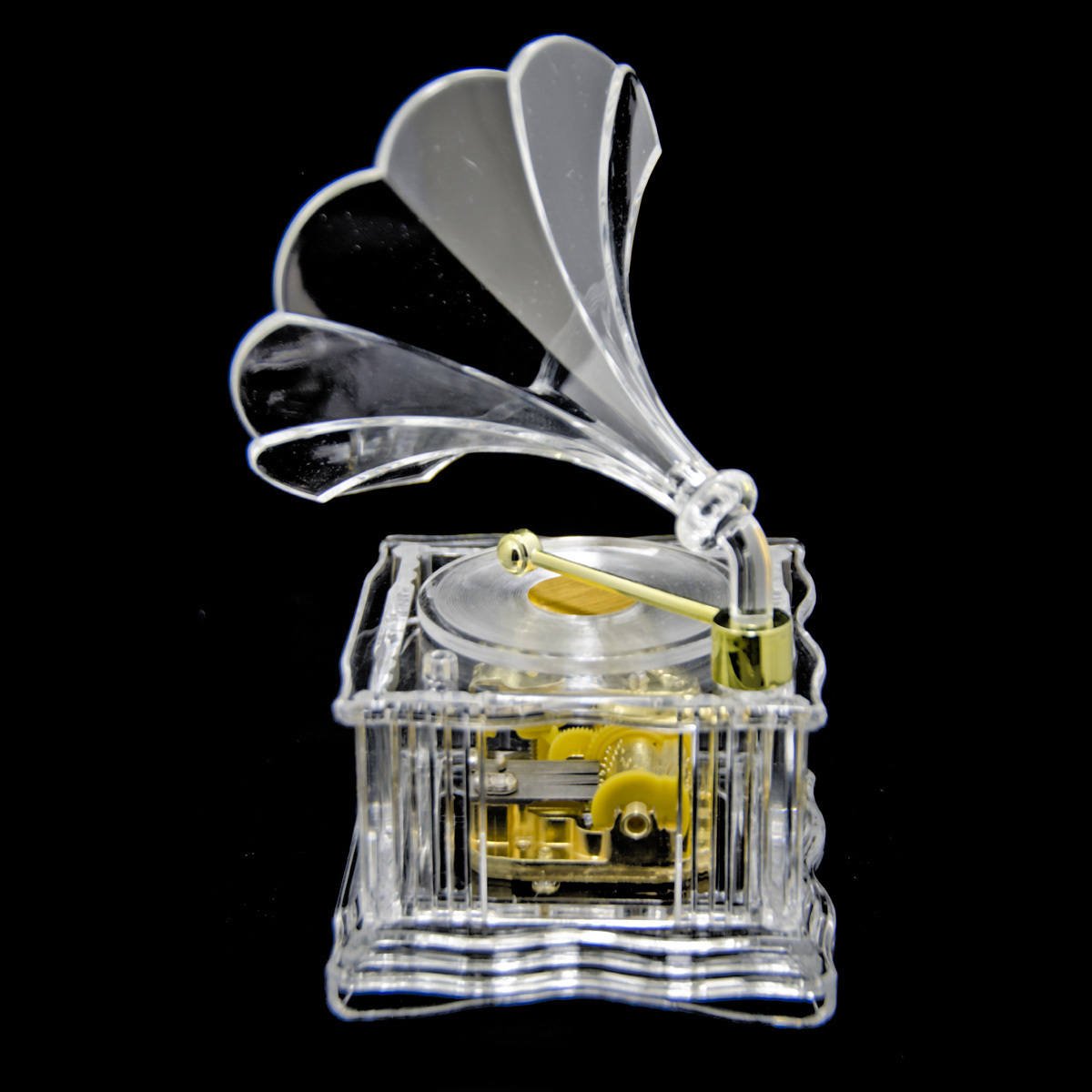 Gorgeous 18 Note Acrylic Miniature Phonograph / Gramophone with Gold Accents
