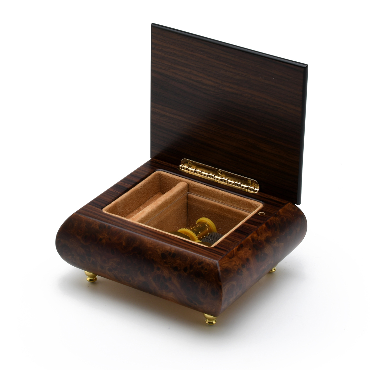 Delightful Natural Tone Music Box with 3 Graceful Ballerinas Wood Inlay