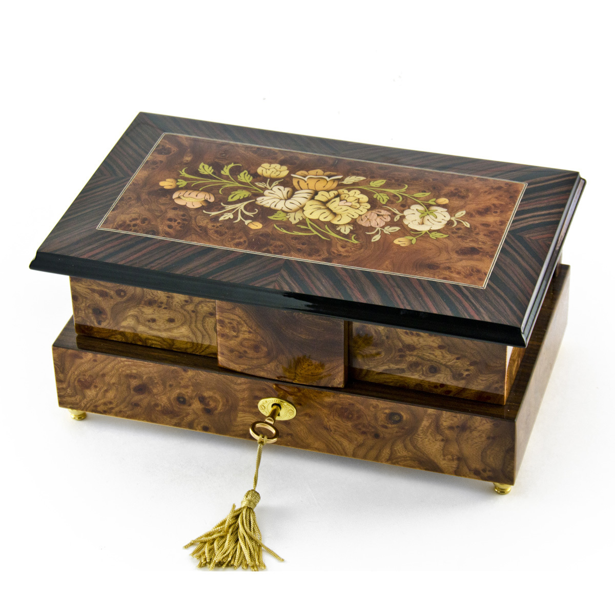Grand 18 Note Double Level Musical Jewelry Box with Exquisite Floral Inlay