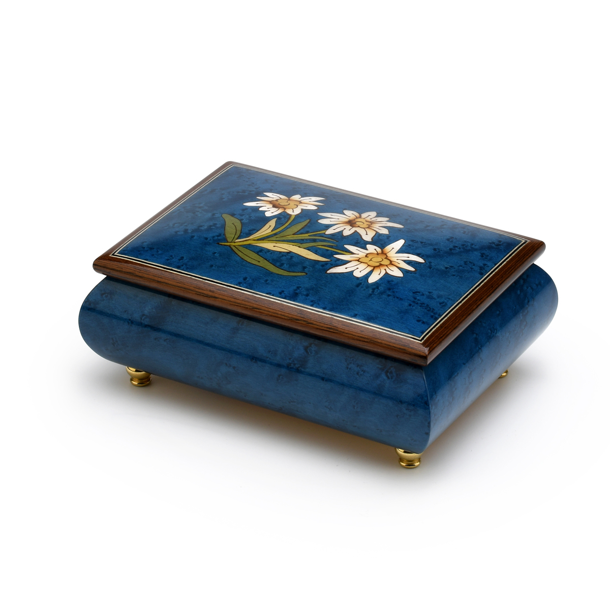 Hand-made 18 Note Royal Blue Edelweiss Inlay Musical Jewelry Box