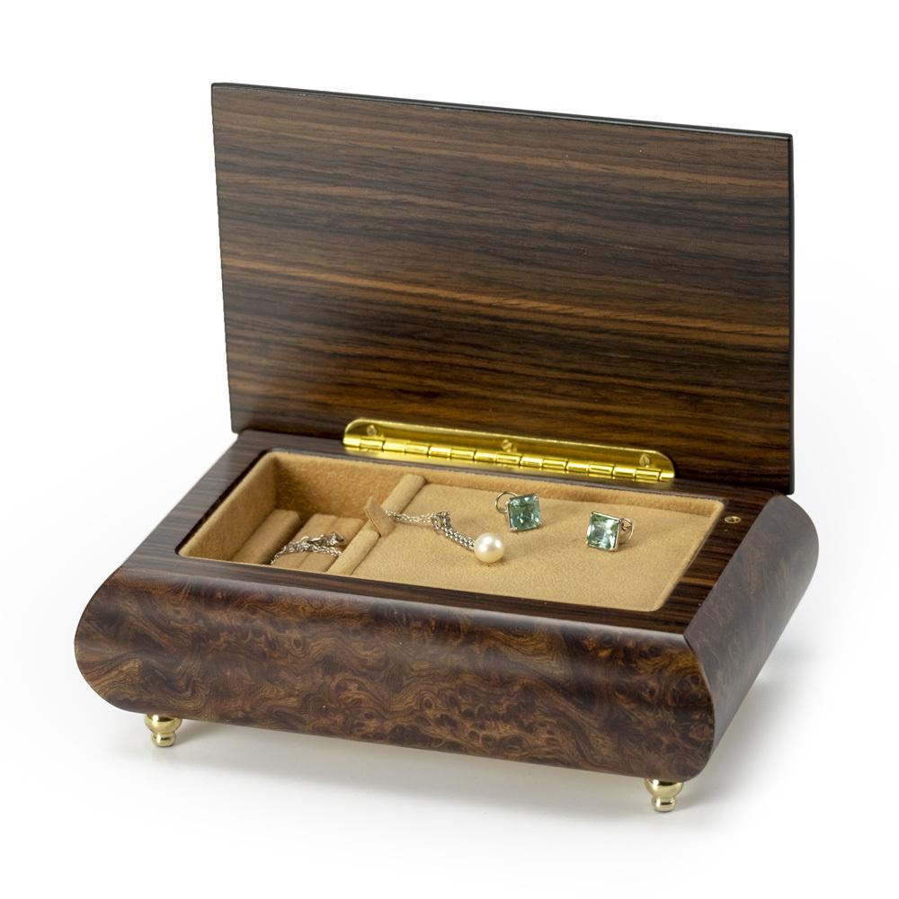 Sports Theme Wood Inlay Baseball- Collectible18 Note Musical Jewelry Box
