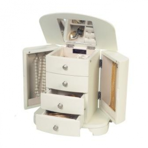 Kaitlyn Upright White Musical Jewelry Box by Mele and Co