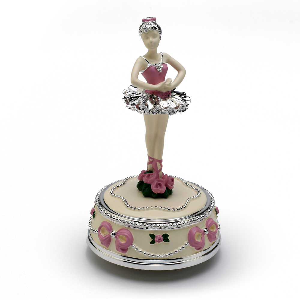 Inspiring Silver with Pink Accent of Roses and Ribbons Animated Ballerina Figurine