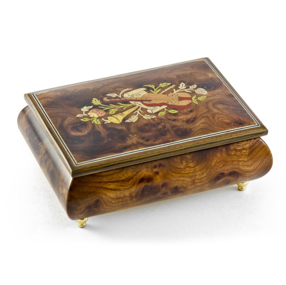 Charming Hand Made Walnut Instrument Theme Wood Inlay Music Box