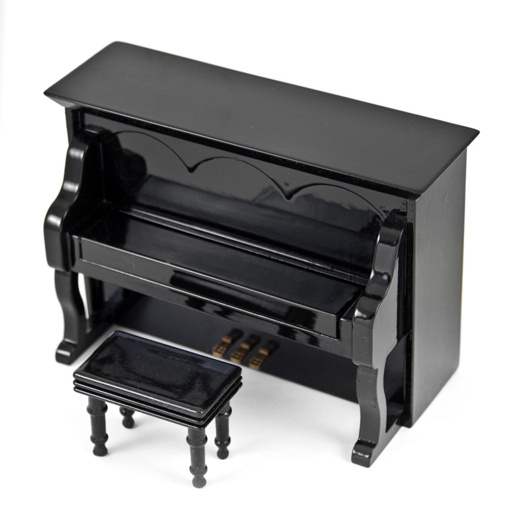 Miniature 18 Note Musical Hi-Gloss Black Upright Piano with Bench