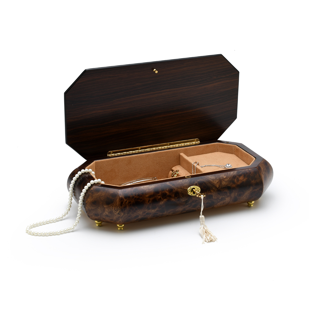 Exquisite Grand Music and Floral Inlay, Cut Corners Music Jewelry Box