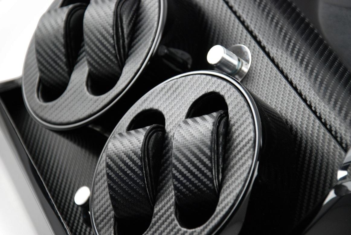 Ultra Modern Midnight Black Dual Rotor Watch Winder 4 with Carbon Fiber Interior
