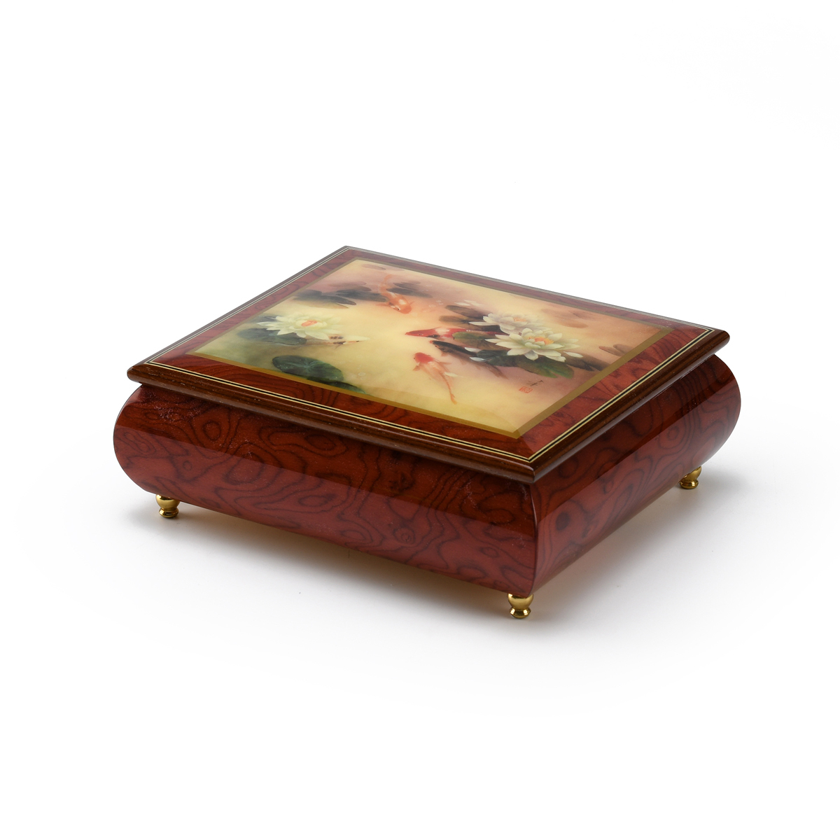 Handcrafted Ercolano Music Box with Painted Scene Lily Pond by Lena Liu