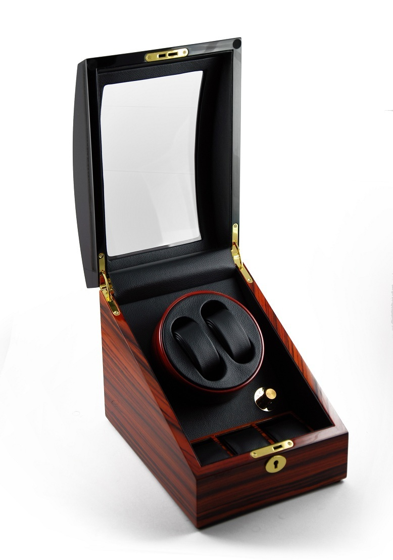Luxurious 2 Toned Single Rotor Dual Watch Winder with Black Leather Interior