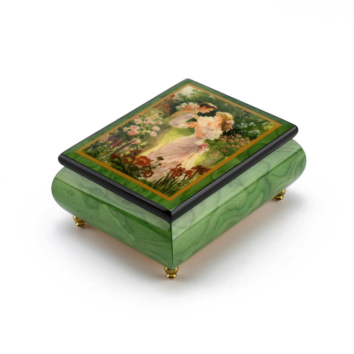 Alluring Forest Green Ercolano Music Jewelry Box - Summers Meeting by Brenda Burke